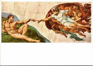Bruckmanns picture card Michelangelo Buonarroti Adam's Creation Vintage Postcard