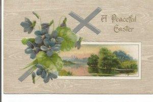 Purple Violets and Silver Cross Overlay Peaceful Lake Scene Vintage Postcard