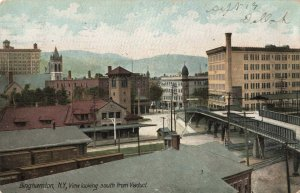 Postcard View Looking South from Viaduct Binghamton New York