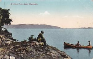New York Greetings From Lake Champlain 1909