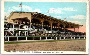 Baltimore, MD Postcard PIMLICO RACE TRACK Horse Racing Grandstand View 1925
