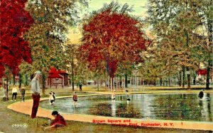 ROCHESTER NY~BROWN SQUARE & WADING POOL-1910s POSTCARD