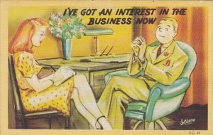 Humour Couple Sitting At Desk I've Got An Interest In The Business Now