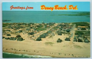 Postcard DE Dewey Beach Greetings Aerial View of Beach Houses c1950s X5