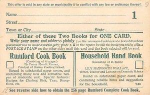 Advertising Post Card Rumford Cook Book Providence, RI, USA Unused