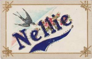 Nellie Written in Glitter w/ Blue Bird & Pink Flowers 1900-10s