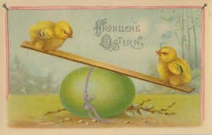 EASTER chicks , 1900-10s ; Playing w/Green Egg SEE-SAW