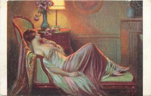 D. Enjolras - Sweet perfumes lamp , nude in paintings vintage postcard