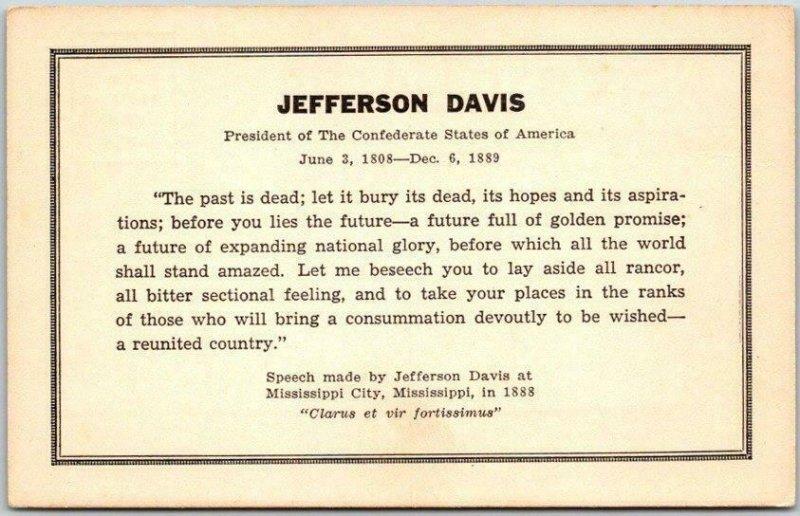 Fairview, Kentucky Postcard JEFFERSON DAVIS MONUMENT Quote on Front Civil War