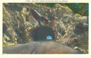 600 Foot Tunnel on Skyline Drive in Virginia, unused Post...