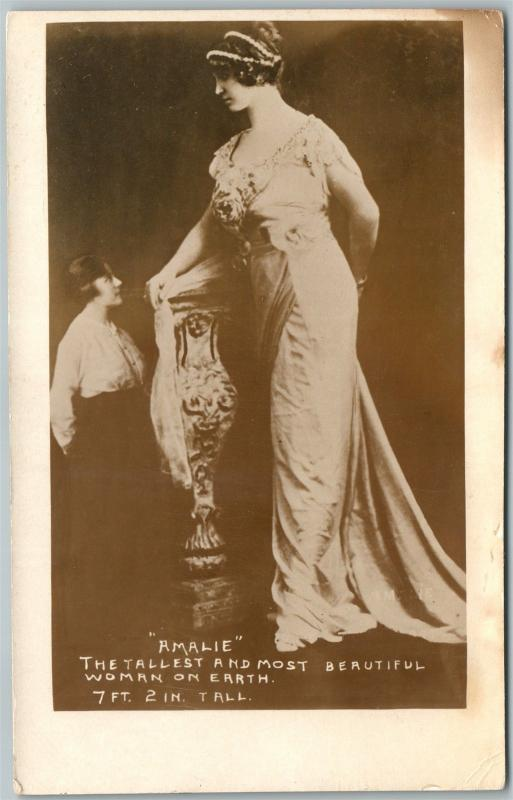 AMALIE TALLEST & MOST BEAUTIFUL WOMAN ON EARTH ANTIQUE REAL PHOTO POSTCARD RPPC