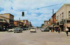 MT - Kalispell. Looking North on Main Street from Second Street, 1950's