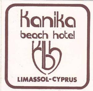 CYPRUS LIMASSOL KANIKA BEACH HOTEL VINTAGE LUGGAGE LABEL