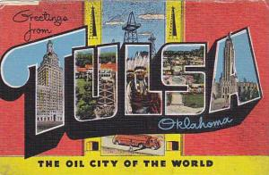 Large Letter Greetings From TULSA, Oklahoma, 1930-1940s