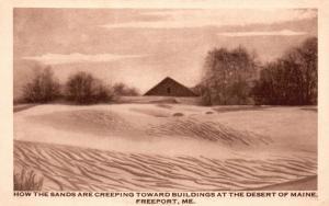 Freeport, ME, Buildings under Sand, Desert of Maine, Vintage Postcard f8614