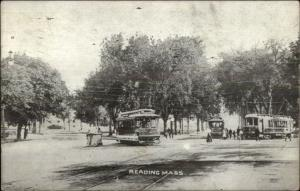 Reading MA Trolley Scene c1910 Postcard