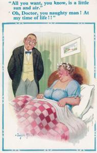 Doctor Prescription To Lady Of Sun & Air & Sex !! Comic Humour Postcard