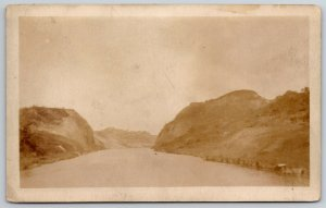 Burma (Myanmar) View of Culiboa? Cut in Canal~Real Photo Postcard~RPPC c1920