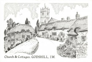 Art Sketch Postcard, Church & Cottages Godshill Isle of Wight by Don Vincent AS1