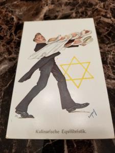 1938 Germany Mint Postcard Eternal Jew Museum Exhibit Waiter with Desserts