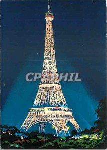 Postcard Modern Night Paris Eiffel Tower