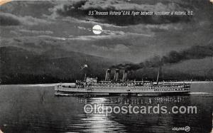 SS Princess Victoria CPR Flyer Vancouver & Victoria, BC Ship Postcard Post Ca...
