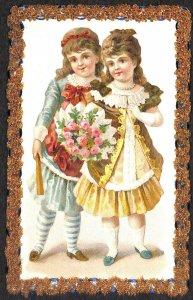Handmade Two Young Girls w/Flowers Beautiful Border Postcard