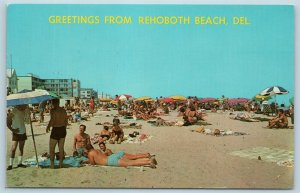 Postcard DE Beach View Greetings From Rehoboth Beach Vintage O10