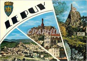 Postcard Modern Le Puy (Haute Loire) Alt 630 m General view and Rocks Needle ...