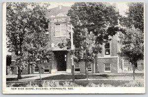 Stromsburg Nebraska~High School Building Close Up~1917 B&W Postcard