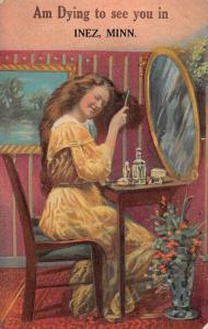 Inez Minnesota Greetings Lady Brushing Hair Vintage Postcard JD933449