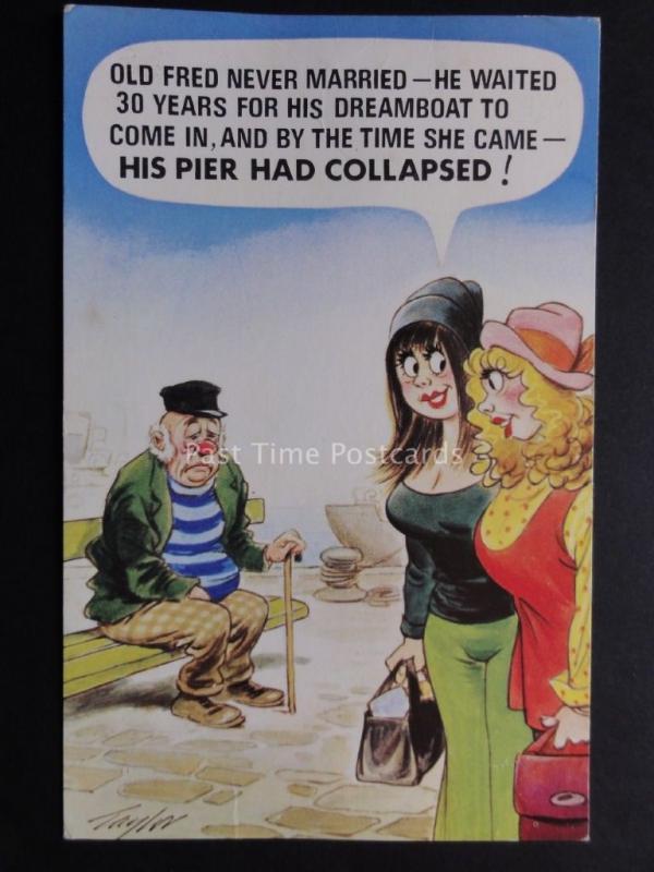 Bamforth Comic Postcard Pier Theme HIS PIER HAD COLLAPSED!