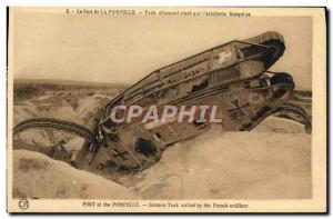 Old Postcard Army Tank Pompelle Fort German Tank & # nailed by German 39artil...