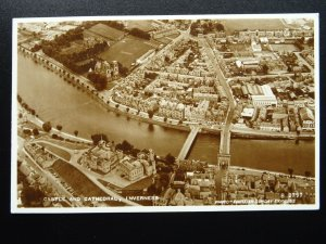 Scotland INVERNESS Aerial View, Castle & Cathedral c1950s RP Postcard