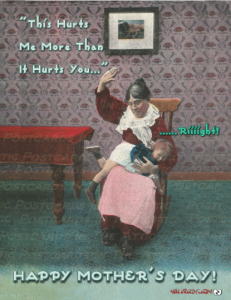1 Hand-Designed Postcards the feature an Old Woman Spanking Child Old Fashioned