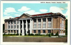 Sapulpa, Oklahoma Postcard Masonic Temple Lodge Building Masons Linen c1940s