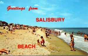 Massachusetts Greetings Rrom Salisbury Beach Sunbathers