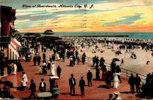 New Jersey Atlantic City View Of Boardwalk 1910
