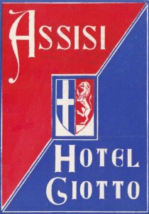 Italy Assisi Hotel Giotto Vintage Luggage Label sk3519