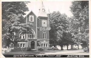 Ohio Postcard Real Photo RPPC c1950 BURTON Congregational Church Founded 1808