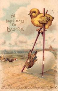 All Happiness for Easter chick on stilts bunny in egg antique pc Z23477