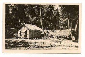 FNAM01 Antilles, Trinidad, Village Huts, Grass Roofs, Palm Trees, Vintage Rea...