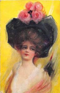 9823   woman wearing Large hat with flowers