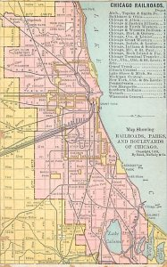 Maps Railroads, Parks, and Boulevards Chicago, USA Unused