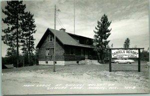 MINONG, Wisconsin RPPC Real Photo Postcard DANIELS RESORT Lodge / Gilmore Lake