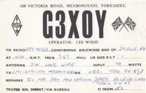 Mexborough Yorkshire Amateur Radio Station to Norwich QSL 1960s Postcard
