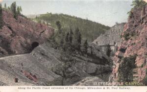 SIXTEEN MILE CANYON MONTANA CHICAGO MILWAUKEE ST PAUL RAILROAD POSTCARD 1910s
