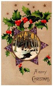 Christmas  , winter scene, Star of David