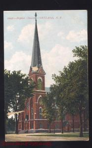 CORTLAND NEW YORK BAPTIST CHURCH ANTIQUE VINTAGE POSTCARD NY