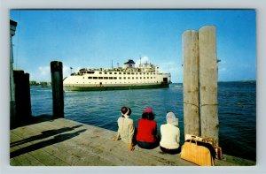Nantucket MA- Massachusetts, Steamer Leaving For Mainland, Chrome Postcard